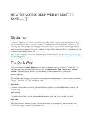 HOW TO ACCESS DEEP WEB BY MASTER JANE