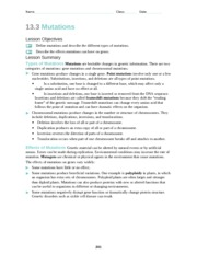 13 3 Worksheet 1 Pdf Name Class Date 13 3 Mutations Lesson Objectives Define Mutations And Describe The Different Types Of Mutations Describe The Course Hero