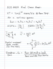 ECE 265A Final Exam Cheat Sheet