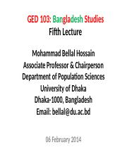 Bangladesh Studies_BUP_8th Lecture_06 February 2014