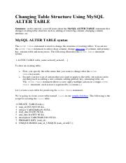 Changing Table Structure Using MySQL ALTER TABLE (LAB3.9)