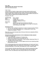 ADV 390 Syllabus and Schedule Fall 2013