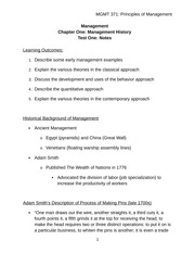 Chapter one Historical Background of Management