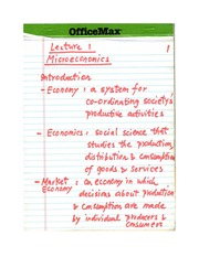 Chapter 1: Microeconomics - Part One