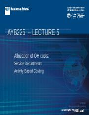 AYB225 Lecture 05  Sem2 2015