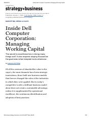 Inside Dell Computer Corporation_ Managing Working Capital