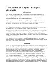 The Value of Capital Budget Analysis.docx