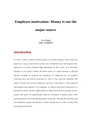 Liu Yang_Employee motivation Money is not the major source.docx
