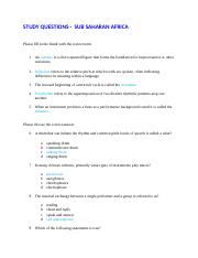 STUDY QUESTIONS for Subsaharan Africa (1)