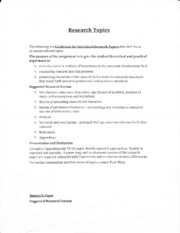 ECON4110 Research Report - Research Topics and Guidelines