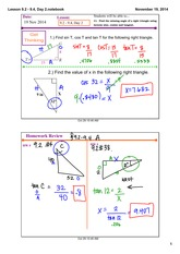 sine cosine tangent day 2 notes