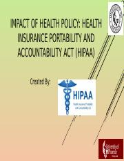 Week 3 Impact of health policy