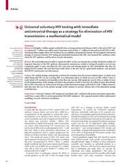 Universal voluntary HIV testing with immediate antiretroviral therapy as a strategy for elimination