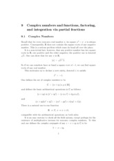 9 Complex numbers and functions, factoring and integration via partial fractions notes