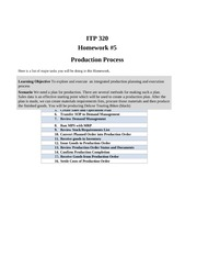 Homework 5 - Production