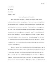 Queen Paper!!! (Comp Crit Paper #2)