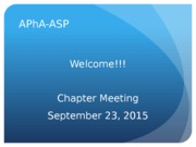 Chapter Meeting 9.23 - Pt Care