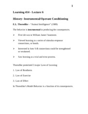 Learning 414 -Lecture 6 Operant Conditioning (Begin Exam 2)