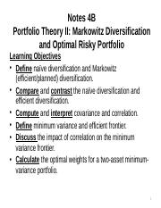 Notes 4B S Portfolio Theory II