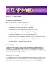 Chapter 12 - Leadership - Module