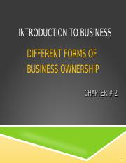 Introduction to Business - Chapter 2 - Different Forms of Business Ownership