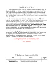 AP Bio Summer Assignment 2014 2-2