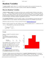 Random Variables and CDF