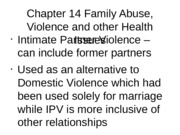 Chapter 14 Family Abuse, Violence and other