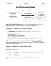 STATISTICAL MECHANICS notes