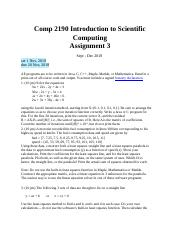 A3-Comp 2190 Introduction to Scientific Computing.docx