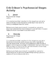 Erik Erikson's Psychosocial Stages Activity