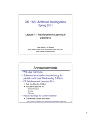 SP11 cs188 lecture 11 -- reinforcement learning II 2PP