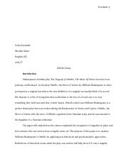High School Essay Example  Pages Othello Essay What Is Thesis Statement In Essay also Proposal Essays Othello  The Discussion Of Othello The Moor Of Venice As A  How Do I Write A Thesis Statement For An Essay