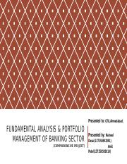 FUNDAMENTAL ANALYSIS & PORTFOLIO MANAGEMENT OF BANKING SECTORpptx