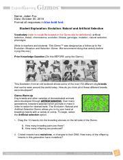 EvolutionNaturalArtificialSE.docx - Name Date Student ...