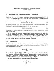 Week 4 Lecture Notes on Expectation and the Lebesgue Theorems