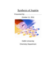 Lab Report: Synthesis of Aspirin