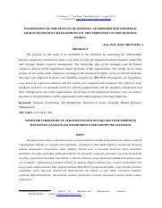 EXAMINATION OF THE EFFECTS OF DESPOTIC LEADERSHIP AND STRATEGIC HUMAN RESOURCES MANAGEMENT ON  THE E