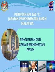Perintah Am Bab C Cuti 2 Pptx Perintah Am Bab U2018c U2019 Jabatan Perkhidmatan Awam Malaysia Pengurusan Cuti Pegawai Perkhidmatan Awam Sumber Dasar Dan Course Hero