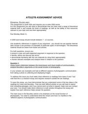 ATS1278 ASSIGNMENT ADVICE 2014