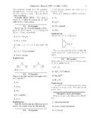 Exam 2 for CH 301 - PRINCIPLES OF CHEMISTRY I with Sutcliffe