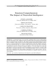Emotional Comprehension-impact of nonverbal IQ