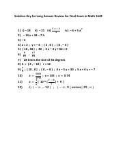 Solution Key for Long Answer Review for Final Exam in Math 1643.pdf