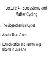 Ecosystems and Matter Cycling- Lecture 4.docx