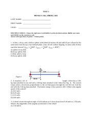 PHYS 1301 Exam 3 spring 2015 with KEY