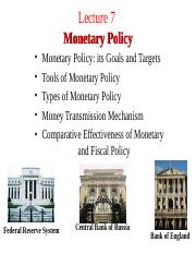 Lecture 7. Monetary Policy