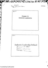 MGMT 4470 Leadership (Chapter 11 Authentic Leadership)