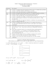 Exam B Review on Engineering Differential Equations