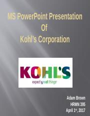 MS PowerPoint Presentation Of Kohl's Corporation