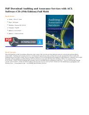 Auditing and assurance pdf pdf download auditing and assurance this is the end of the preview sign up to access the rest of the document unformatted text preview pdf download auditing and assurance services fandeluxe Gallery